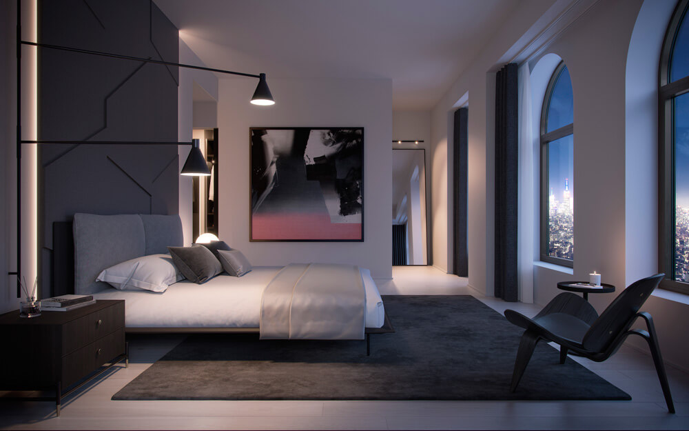 130 William Master Bedroom designed by Sir David Adjaye. Credit: Aston Martin Lagonda
