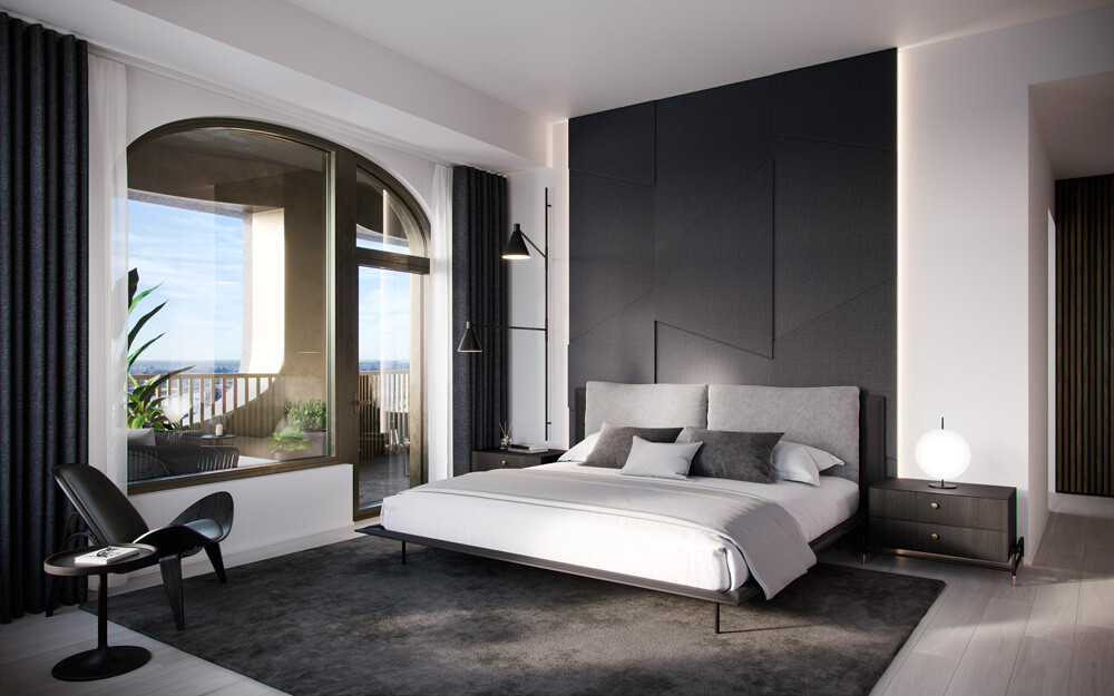 Aston Martin Residence's bedroom with a view of the city. Credit: Aston Martin Lagonda