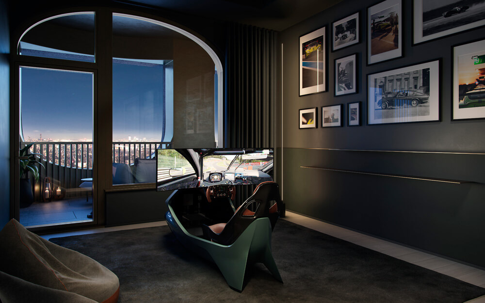 Owners can choose to include a racing simulator room. Credit: Aston Martin Lagonda