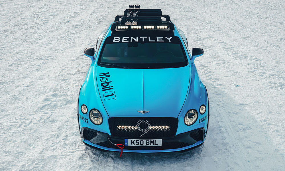 Front view of the GP Ice Race edition Bentley Continental GT