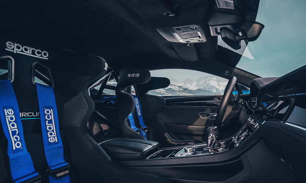 Interior seats of the GP Ice Race edition Bentley Continental GT