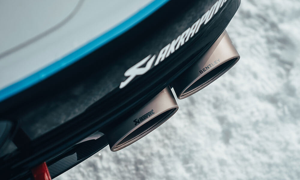 Akrapovic exhaust on the GP Ice Race edition Bentley Continental GT