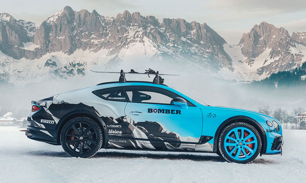 Side view of the GP Ice Race edition Bentley Continental GT