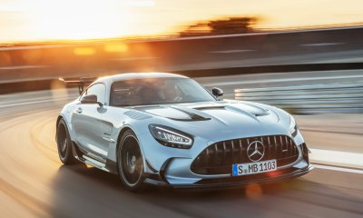 2021 Mercedes AMG GT Black Series Front Side View Sunset