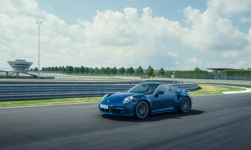2021 Porsche Turbo Side View Driving