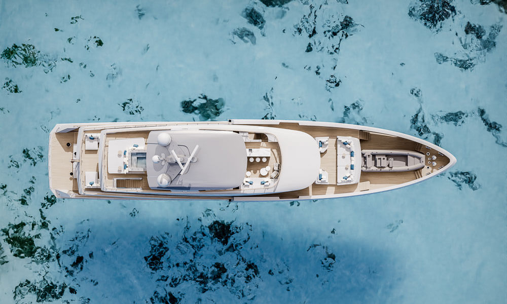45m Tankoa T450 superyacht aerial view