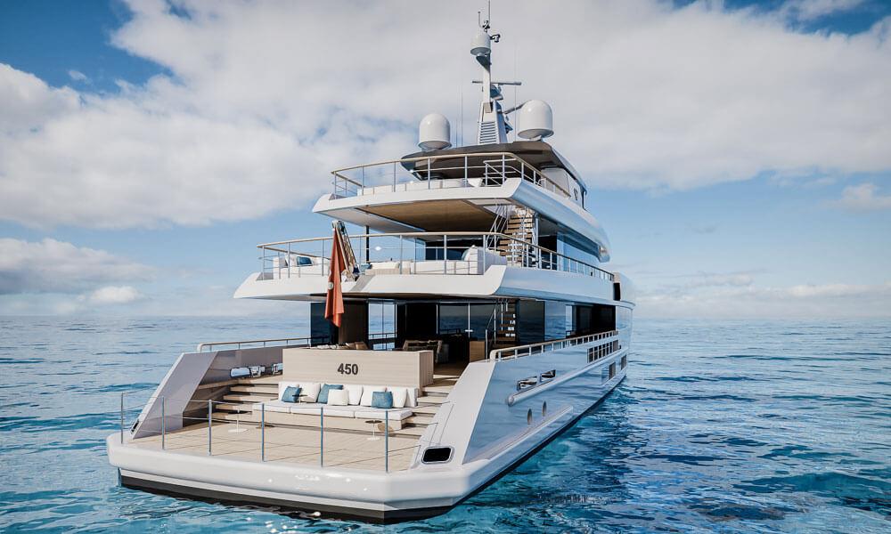 45m Tankoa T450 superyacht aft view