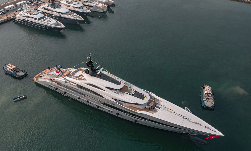 80 metre Bilgin Yachts 263 series superyacht Tatiana in water at marina Turkey