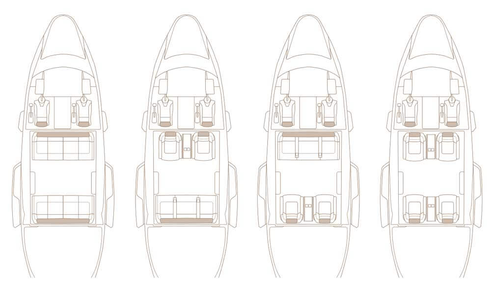 Airbus Corporate Helicopters ACH160 floor plan configuration options
