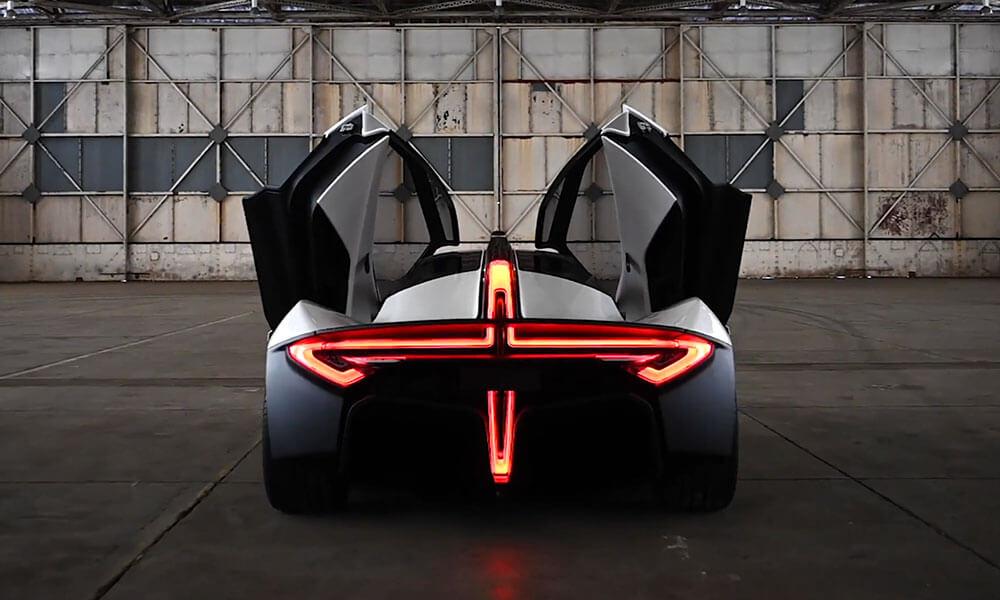 Apex AP-0 EV super sports car rear profile taillight