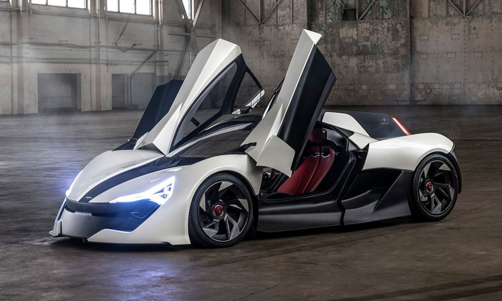 Apex AP-0 EV super sports car side doors open