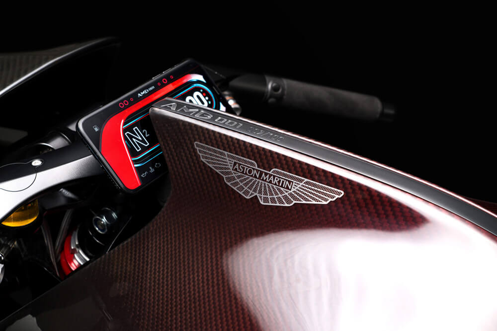Aston Martin Brough Superior AMB 001 Motorcyle Red Carbon Fiber Body