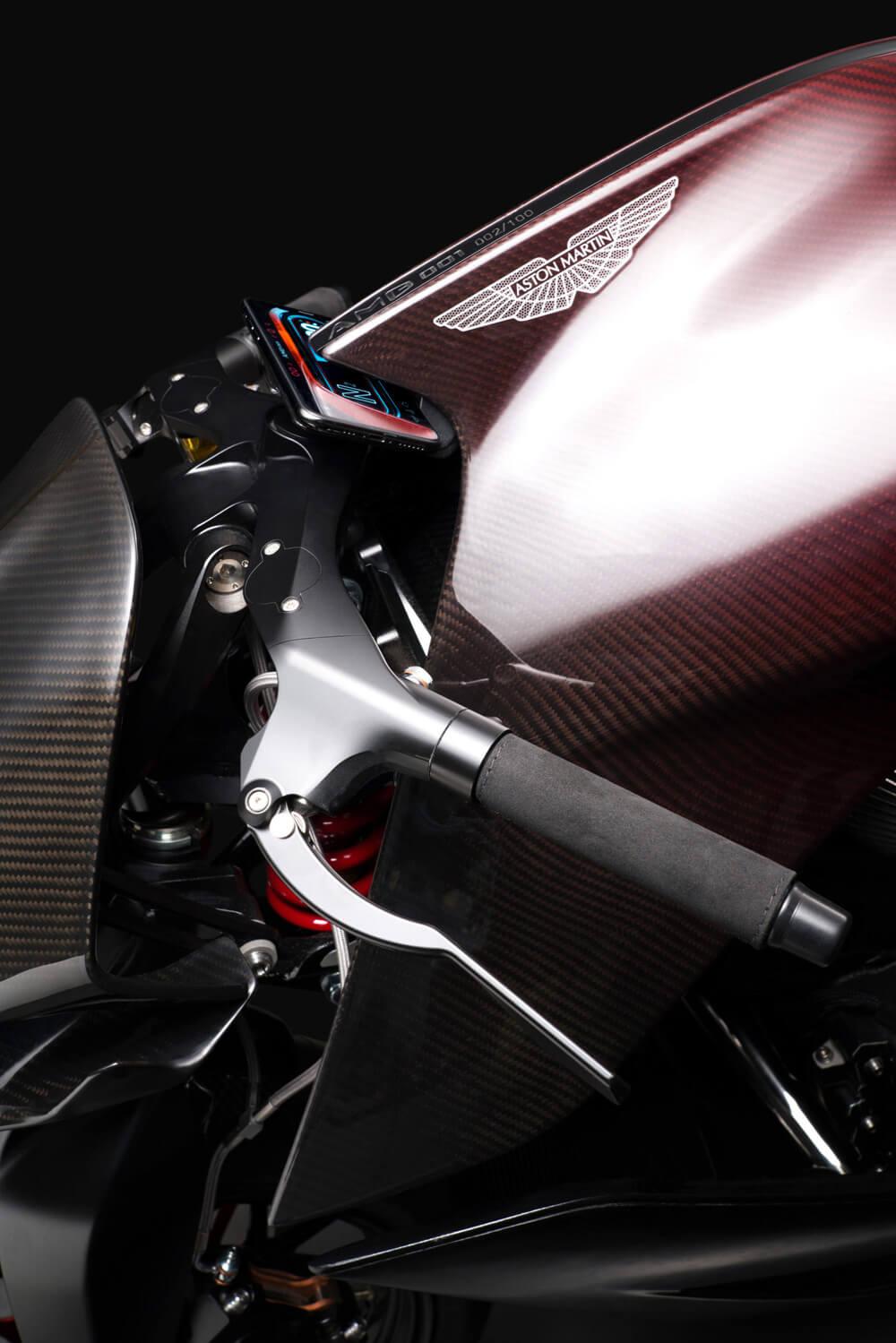 Aston Martin Brough Superior AMB 001 Motorcyle Red Carbon Fiber Details