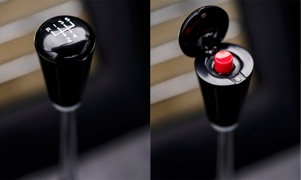 Gear knob actuator button. Credit: Aston Martin