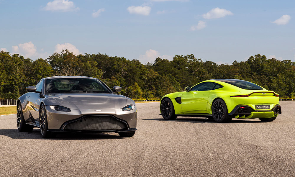 Aston Martin Vantage in Tungsten Silver and Lime Essence