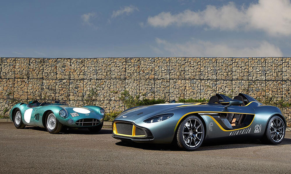 the Aston Martin DBR1 and the 2013 Aston Martin CC100 Speedster Concept