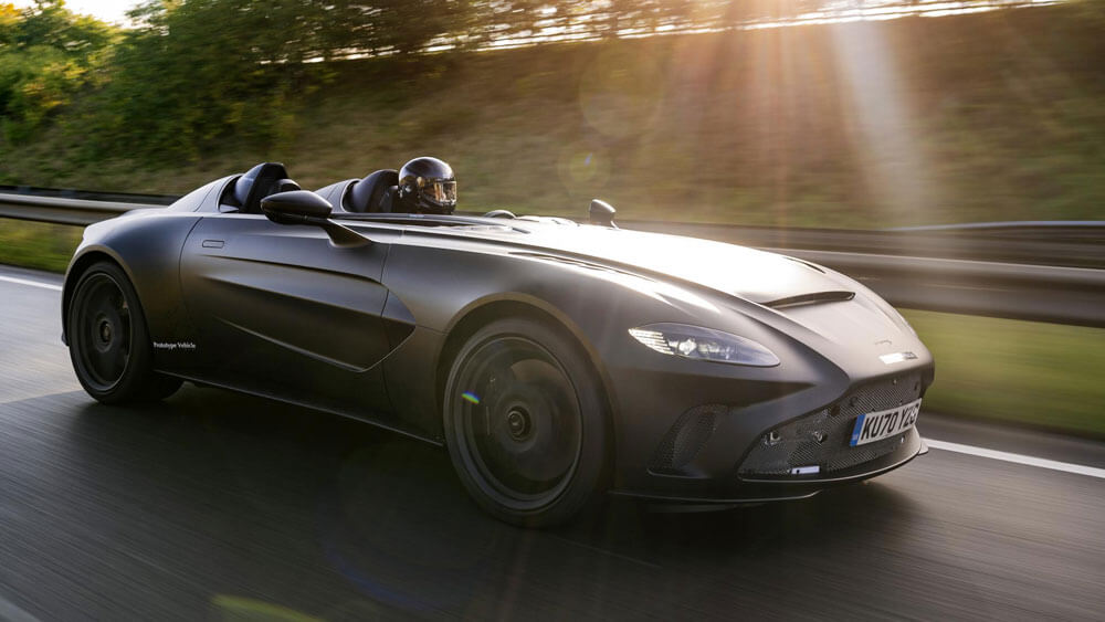 Aston Martin V12 Speedster Prototype Front Side Driving View
