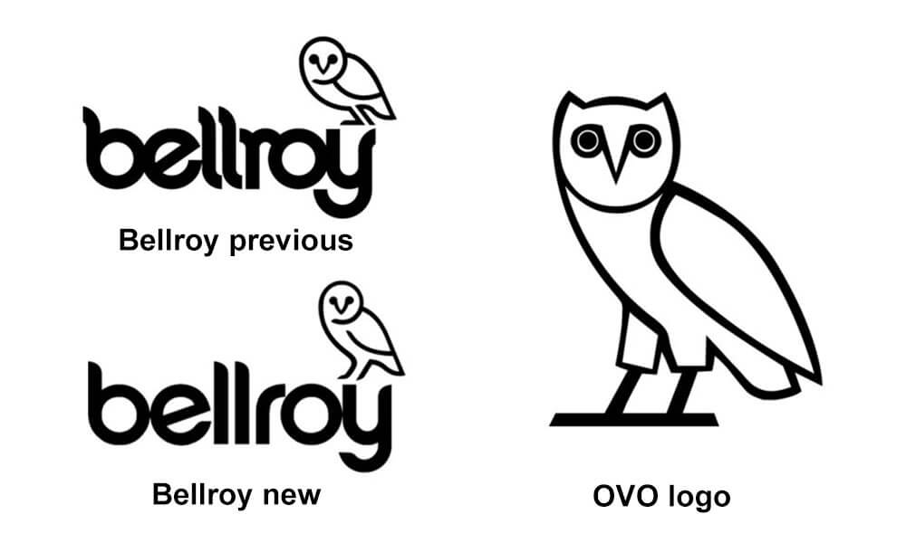 Bellroy vs OVO logo comparison