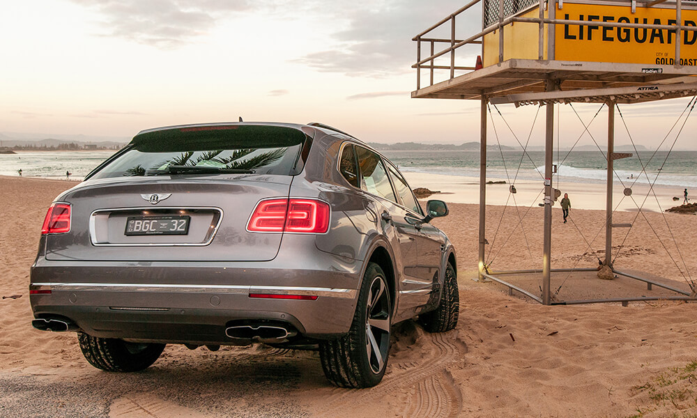 Bentley Bentayga at a Gold Coast Beach Sunrise