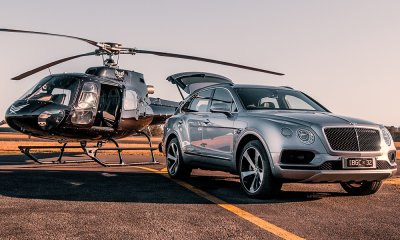 Bentley Bentayga SUV car with Airbus H125 Helicopter