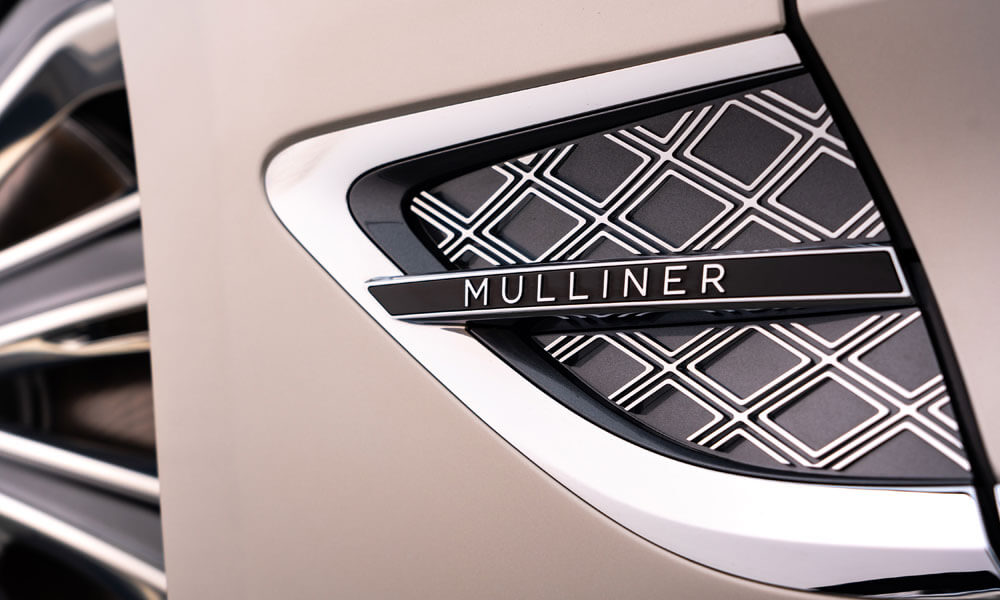 Front fender vents with Mulliner double diamond design. Credit: Bentley Motors