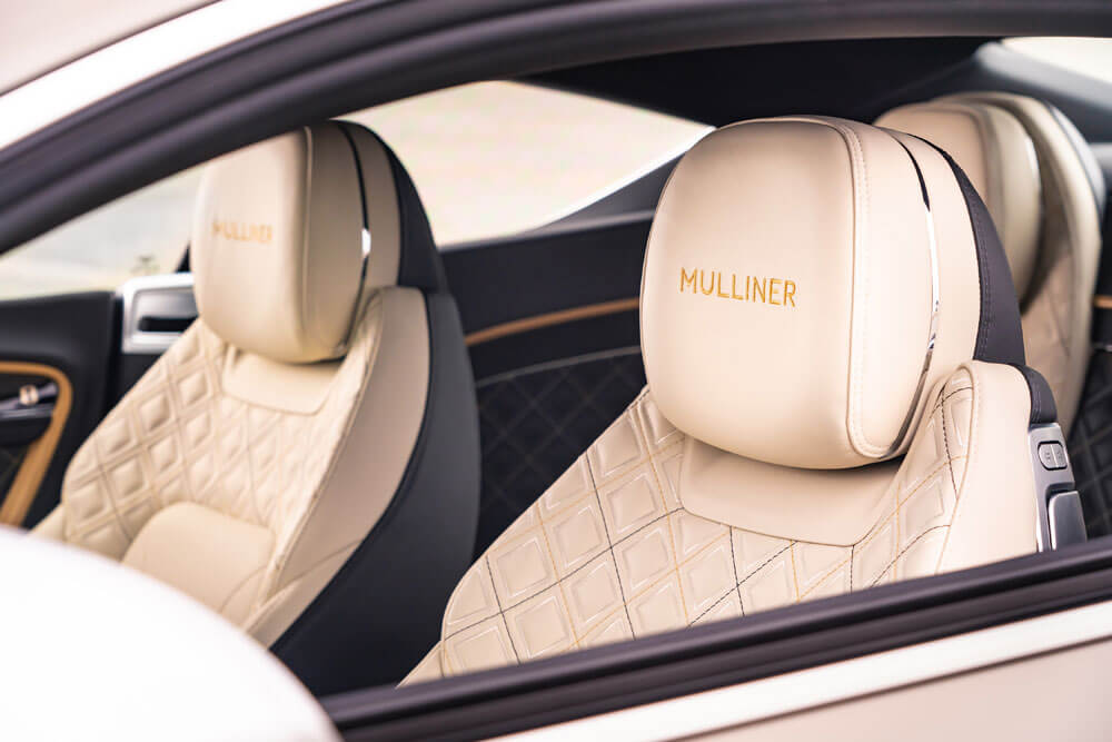 Mulliner stitching on the interior seats is standard. Credit: Bentley Motors