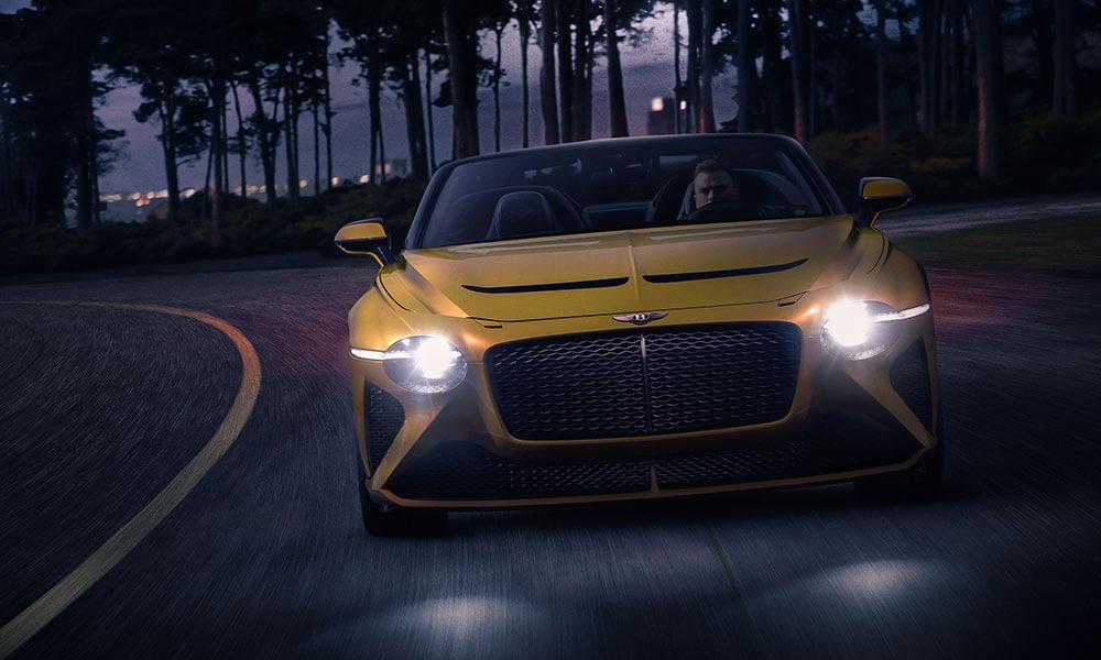 Bentley Mulliner Bacalar headlights at night