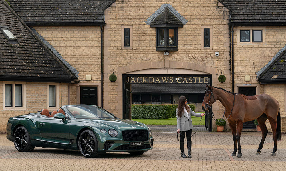 Bentley Mulliner Continental GT Convertible Equestrian Edition at castle