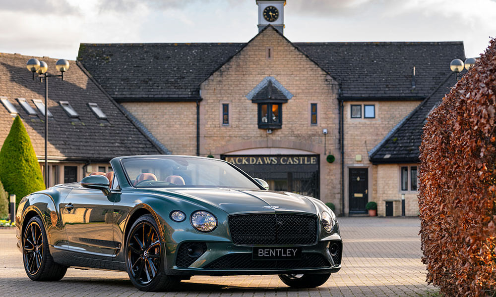 Bentley Mulliner Continental GT Convertible Equestrian Edition outside castle