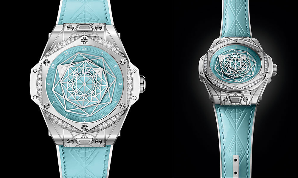 The design of the exclusive Russia only Hublot Big Bang Sang Bleu Steel Turquoise