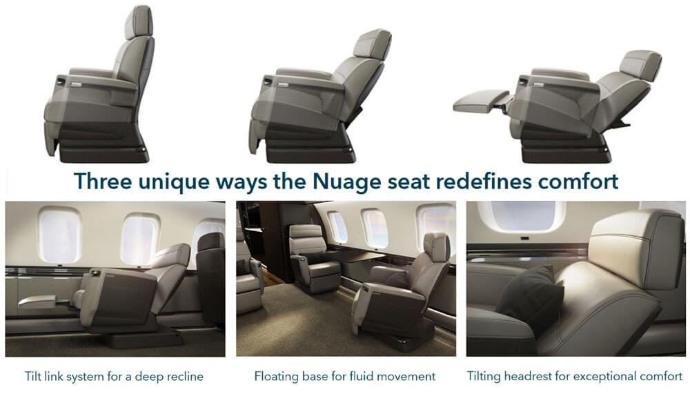 Bombardier Global 5500 Nuage seat design detail