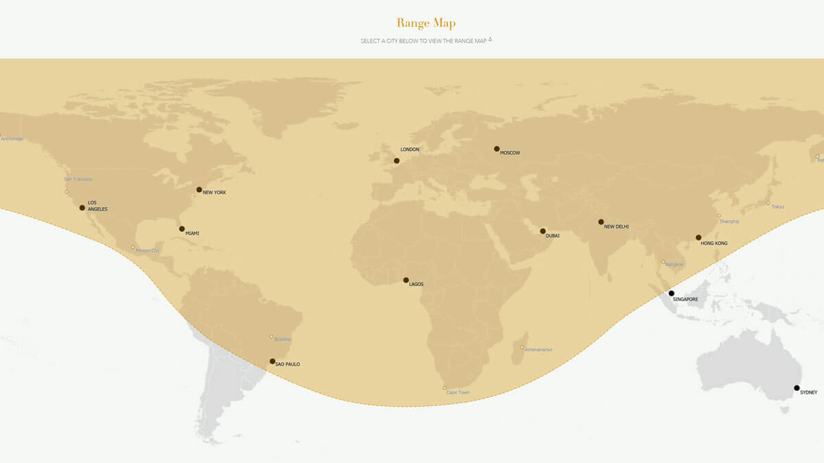 Bombardier Global 5500 Range map example