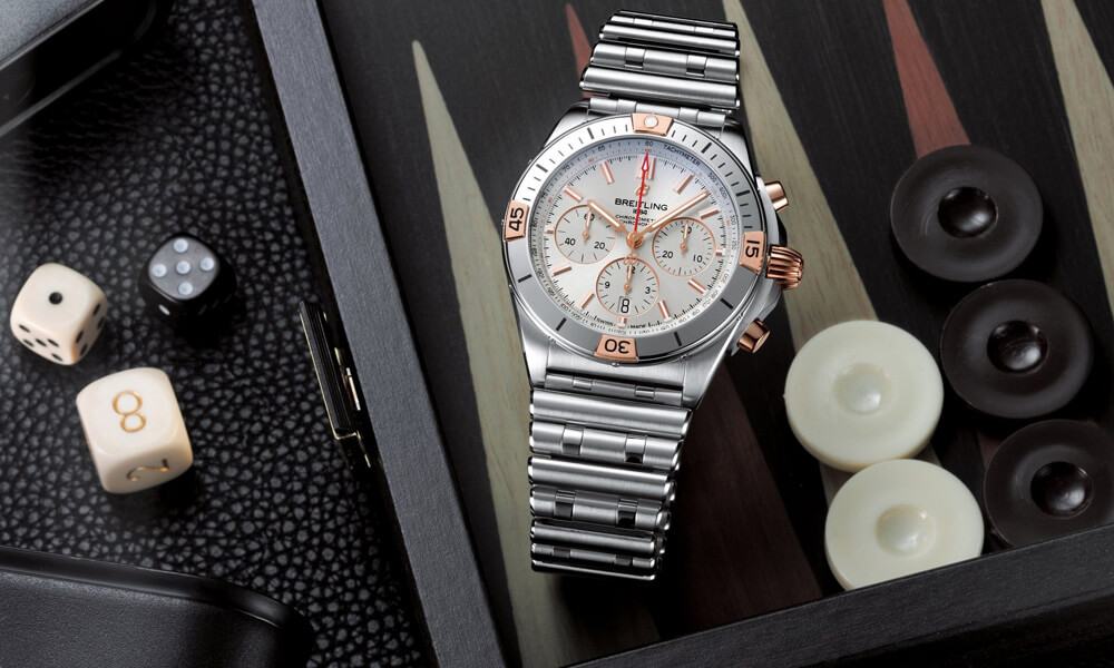 Breitling Chronomat B01 42 Two Tone Silver & 18K Red Gold