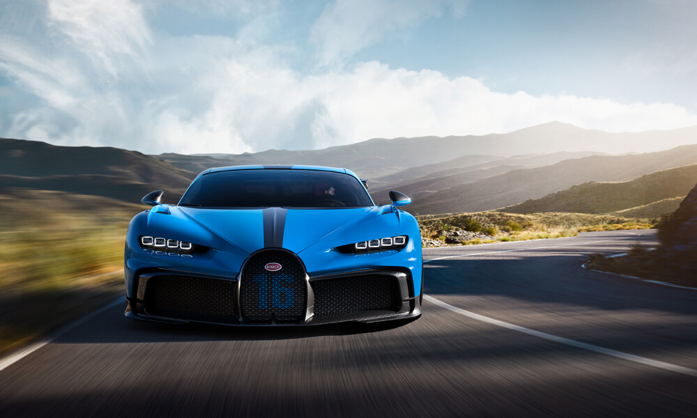 Can't miss the wider air intakes of the Bugatti Chiron Pur Sport.