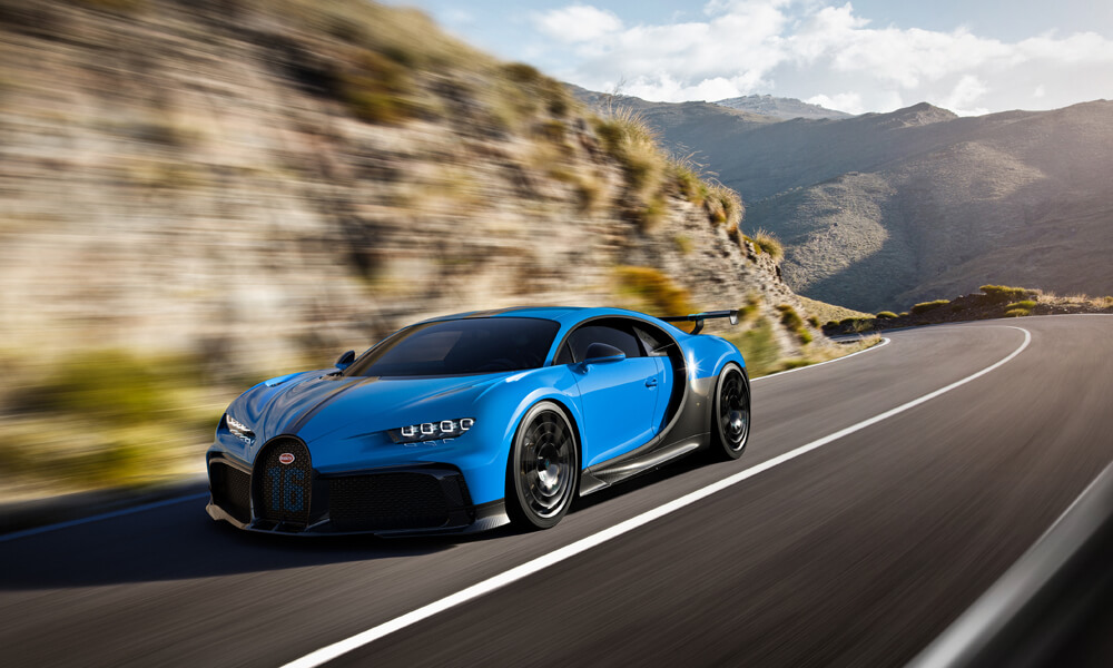 The new €3 million Bugatti Chiron Pur Sport makes easy work of hills.