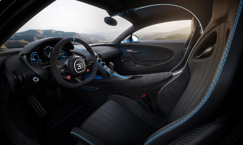 Bugatti Chiron Pur Sport Alcantara interior is lean, mean and made to go fast.