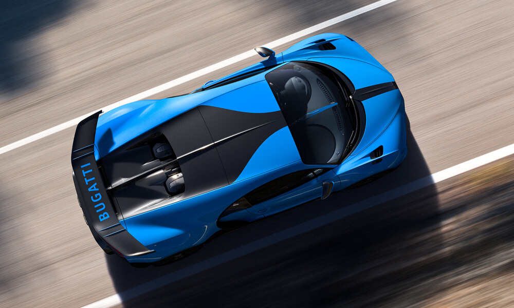 Aerial view of the Bugatti Chiron Pur Sport.