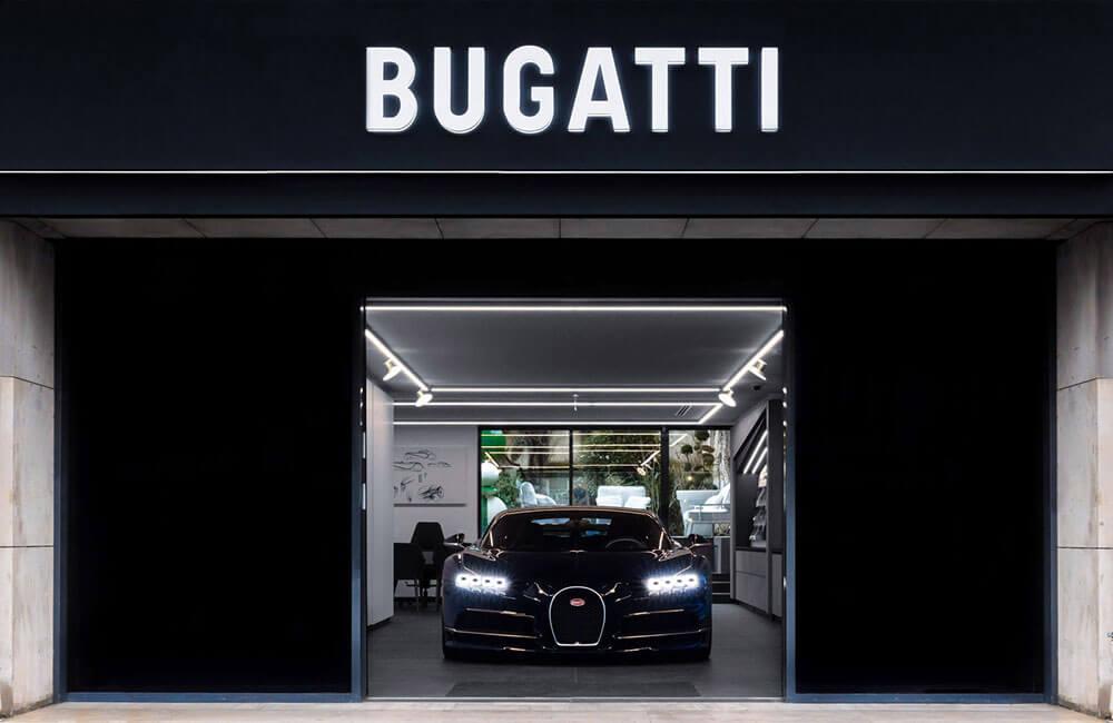 Bugatti Chiron Sport inside new showroom Neuilly-sur-Seine, Paris