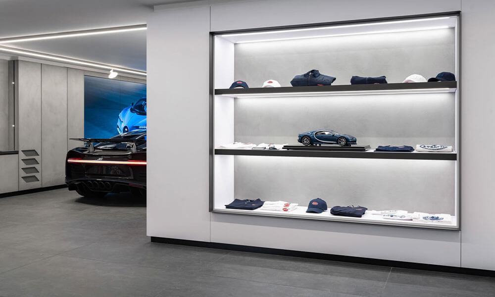 Merchandise at the Bugatti showroom Neuilly-sur-Seine, Paris
