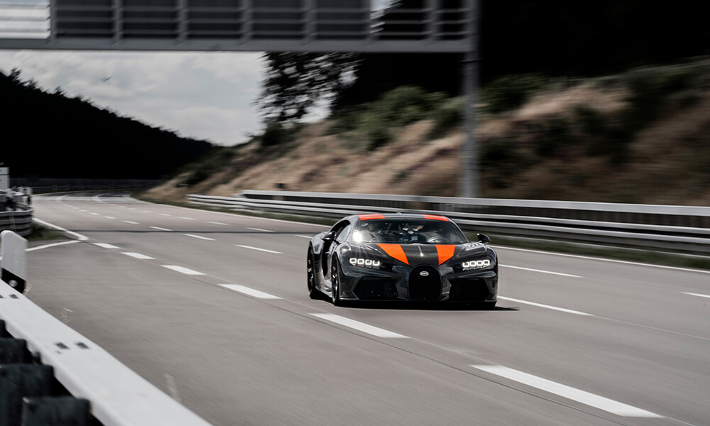 World record setting Bugatti prototype driving on a track