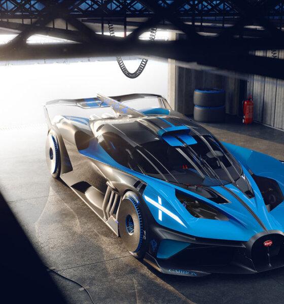 Bugatti Bolide Hypercar Garage Aerial Front View