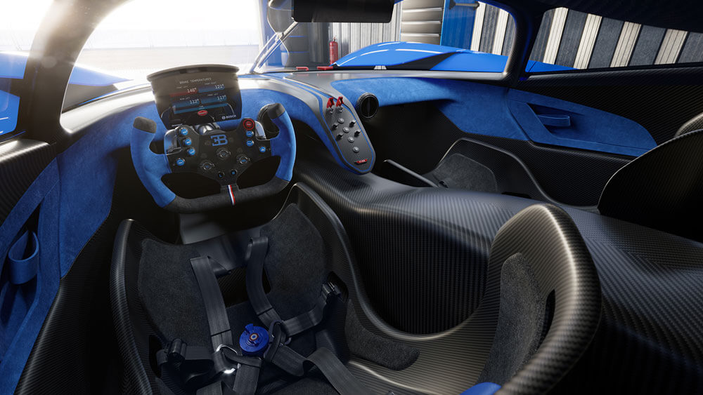 """The Bugatti Bolide focuses on performance and does away with some of the familiar """"luxuries"""". Credit: Bugatti"""