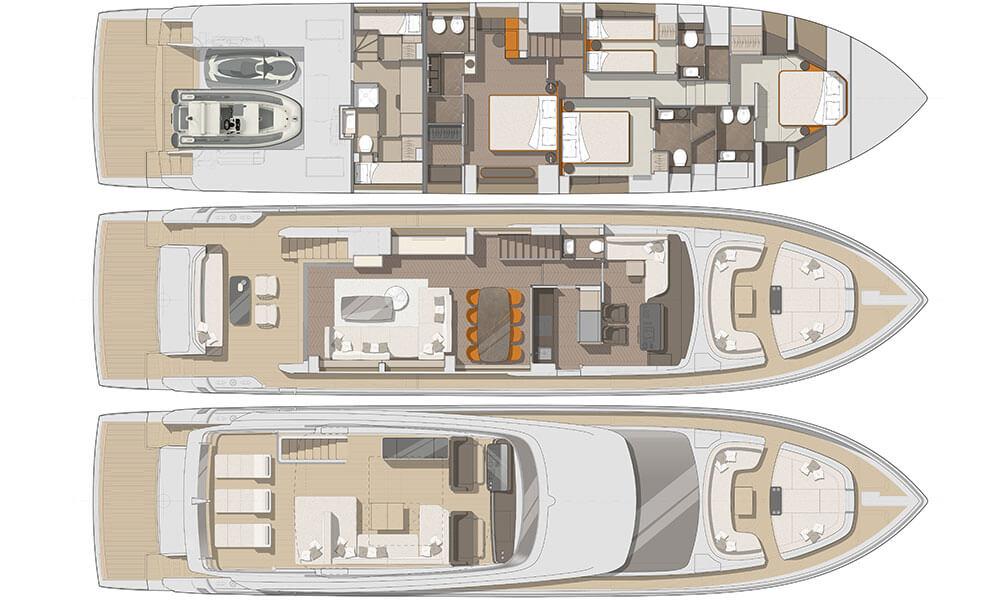Cranchi Settantotto 78 flybridge GA deck layout plans