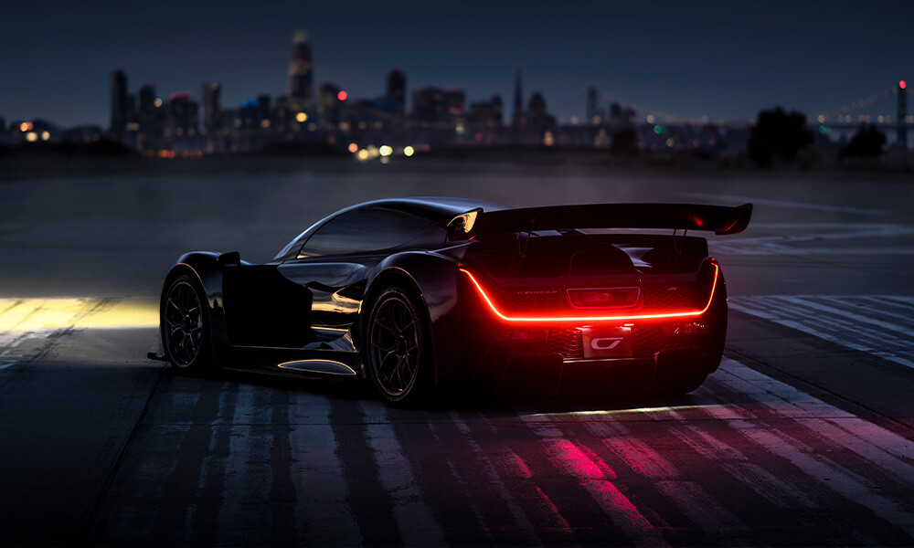 Czinger 21C hypercar parked at night on runway