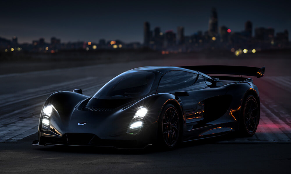 Czinger 21C hypercar parked at night with headlights