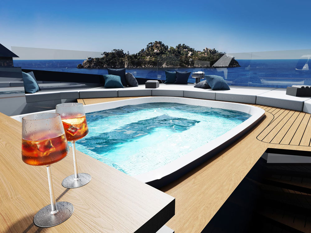 Jacuzzi on the sundeck of the DIANA R.50. Credit: Diana yacht Design