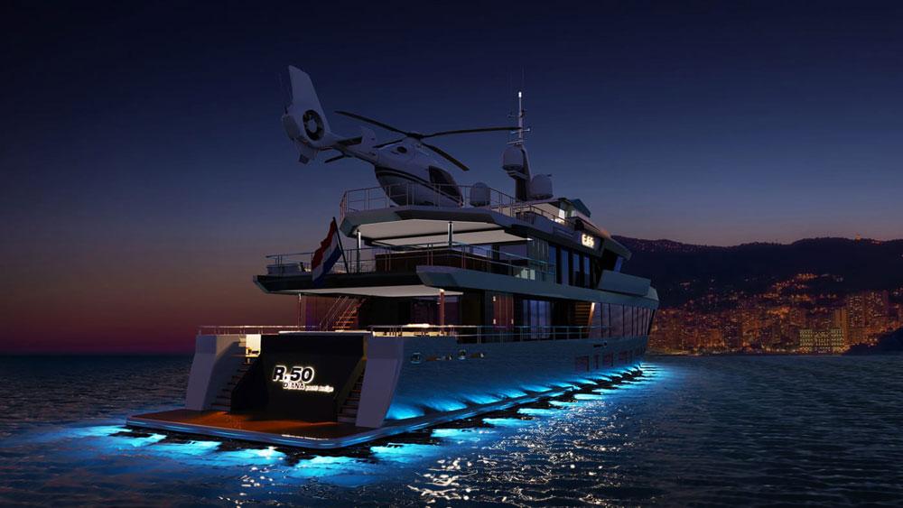 Diana Yacht Design R.50 Stern Night
