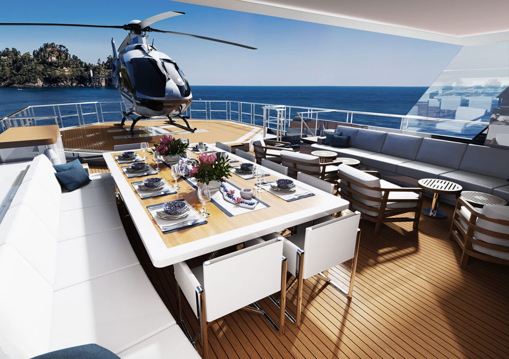 Touch-and-go helipad on the sundeck. Credit: Diana Yacht Design