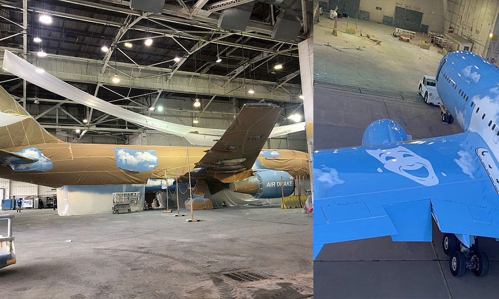 Virgil Abloh posted teaser's of Drake's new private jet livery to his Instagram