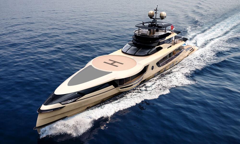 Dynamiq GTT 160 superyacht seen in royal gold